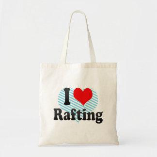 Amo el transportar en balsa bolsa lienzo