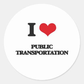 Amo el transporte público pegatina redonda