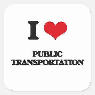 Amo el transporte público calcomania cuadradas