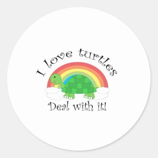 Amo el trato de las tortugas a la moda pegatina