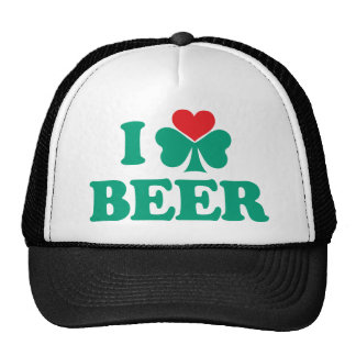 Amo el trébol de la cerveza gorro de camionero