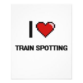 """Amo el tren que mancha el diseño retro de folleto 4.5"""" x 5.6"""""""