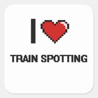 Amo el tren que mancha el diseño retro de pegatina cuadrada