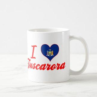 Amo el Tuscarora, Nueva York Taza Básica Blanca