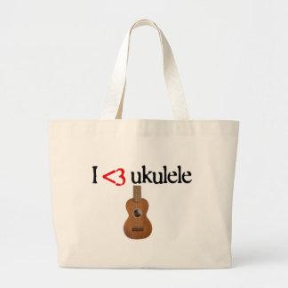 Amo el ukulele bolsa tela grande