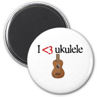 Amo el ukulele imán redondo 5 cm