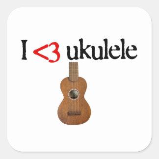 Amo el ukulele pegatina cuadrada