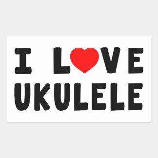 Amo el Ukulele Pegatina Rectangular