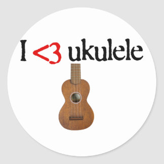 Amo el ukulele pegatina redonda