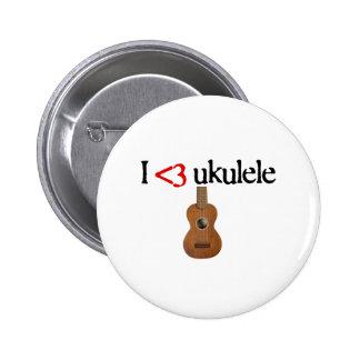 Amo el ukulele pin redondo de 2 pulgadas