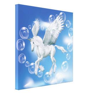 Amo el unicornio Pegaso de las burbujas Lona Envuelta Para Galerias