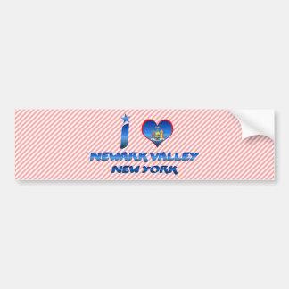 Amo el valle de Newark, Nueva York Pegatina De Parachoque