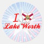 Amo el valor del lago, la Florida Pegatinas Redondas