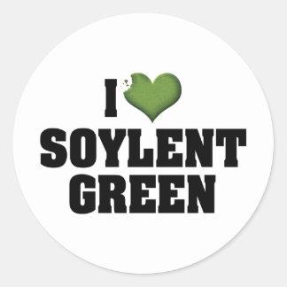 Amo el verde de Soylent Pegatina Redonda