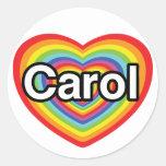 Amo el villancico: corazón del arco iris etiquetas redondas