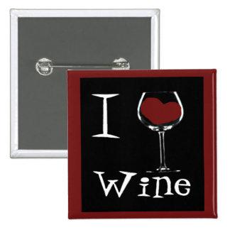 Amo el Vino-Corazón Pin Cuadrada 5 Cm
