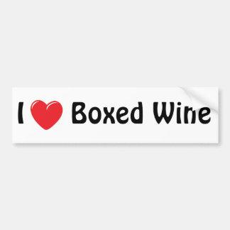 Amo el vino encajonado etiqueta de parachoque