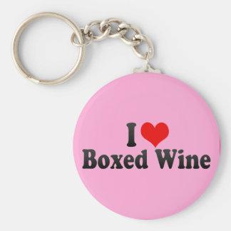 Amo el vino encajonado llavero
