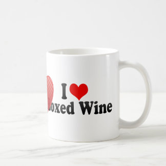 Amo el vino encajonado taza básica blanca