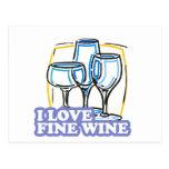 Amo el vino fino del vino fino tarjetas postales