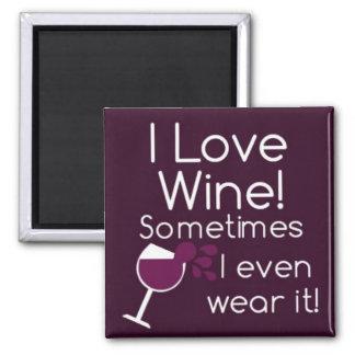 ¡Amo el vino!  imán cuadrado