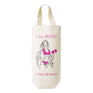 Amo el vino, yo odio Whiners Bolsa Para Botella De Vino Zazzle HEART
