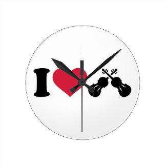 Amo el violín del violín reloj de pared