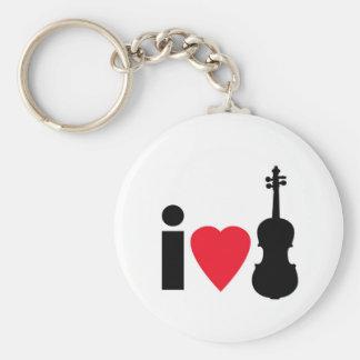 Amo el violín llavero redondo tipo pin