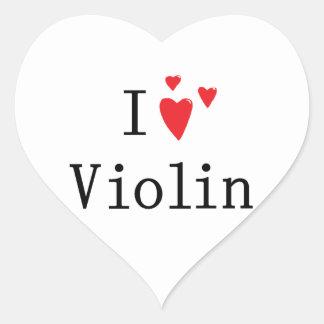 Amo el violín calcomanías corazones