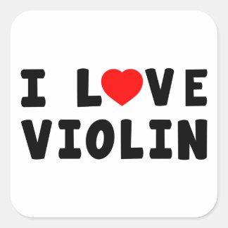 Amo el violín pegatina cuadrada