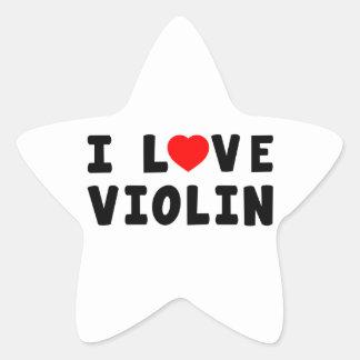 Amo el violín pegatina en forma de estrella