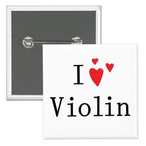 Amo el violín pin cuadrada 5 cm