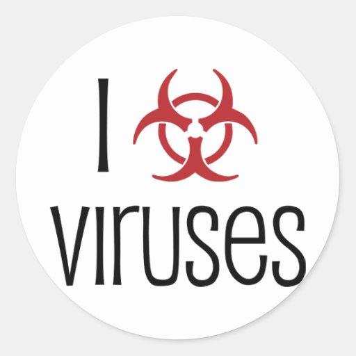 Amo el virus pegatina redonda