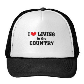 Amo el vivir en el país gorras de camionero