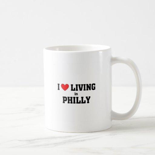 Amo el vivir en Philly Taza Básica Blanca