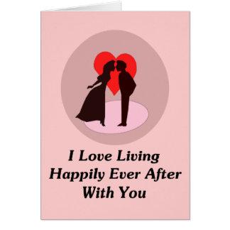 Amo el vivir feliz siempre después con usted tarjeta de felicitación