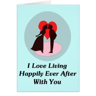 Amo el vivir feliz siempre después con usted tarjeta pequeña