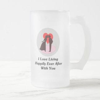Amo el vivir feliz siempre después con usted taza de cristal