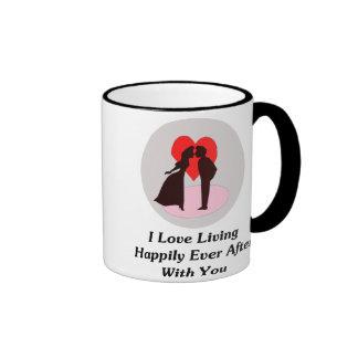 Amo el vivir feliz siempre después con usted taza de dos colores