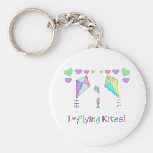 Amo el volar de cometas llavero redondo tipo pin