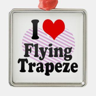 Amo el volar del trapecio adorno cuadrado plateado