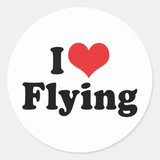 Amo el volar pegatina redonda