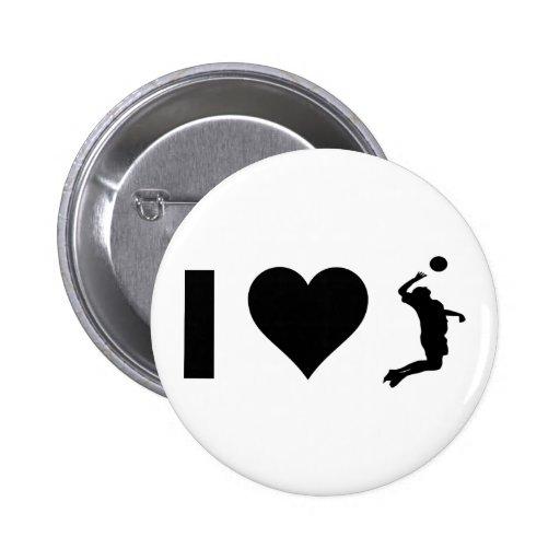 Amo el voleibol (el varón) pin redondo 5 cm