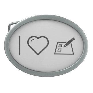 Amo el votar hebillas cinturón ovales