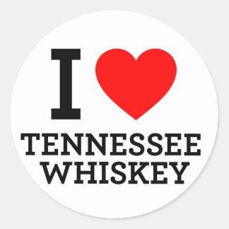 Amo el whisky de Tennessee Pegatina Redonda