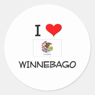 Amo el WINNEBAGO Illinois Pegatina Redonda