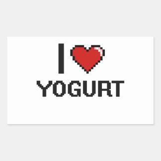 Amo el yogur pegatina rectangular