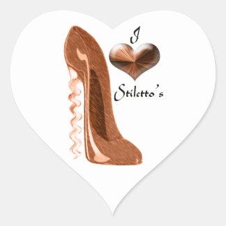 Amo el zapato del estilete del sacacorchos y el pegatina en forma de corazón
