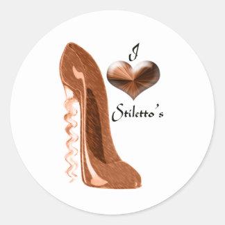 Amo el zapato del estilete del sacacorchos y el pegatina redonda