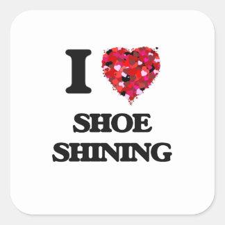 Amo el zapato que brilla pegatina cuadrada